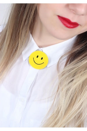Sarı Smiley Broş